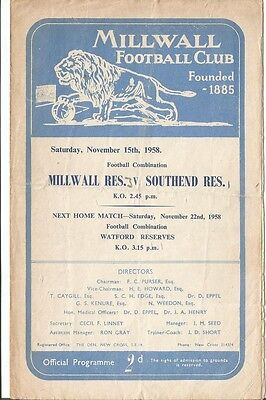 MILLWALL RESERVES v SOUTHEND UNITED RESERVES 1958/59