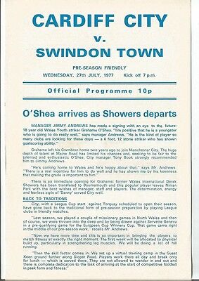 CARDIFF CITY v SWINDON TOWN 1977/78  FRIENDLY