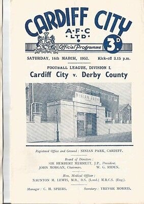 CARDIFF CITY v DERBY COUNTY 1952/53