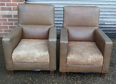 LOVELY !!  VINTAGE MID CENTURY 1950s  2 LEATHER  SOFA ARM CHAIRS