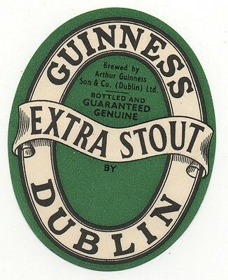OLD LABEL  - GUINNESS - GREEN BLANK  - 82mm TALL