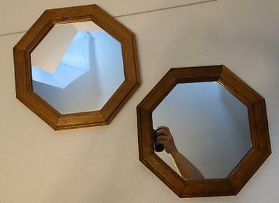 Set Of 2 Vintage Home Interior Octagon Wood Frame Wall Mirrors