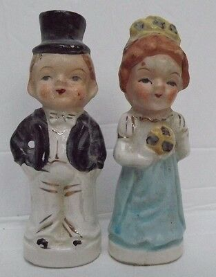 Vintage Bride & Groom Salt and Pepper Shakers Young and Old Japan  reversable