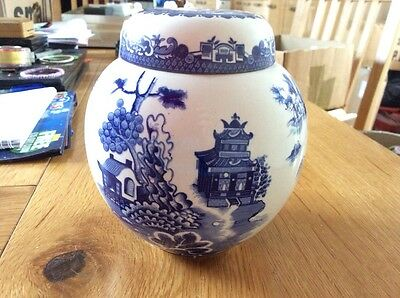 A vintage Royal Couldron willow pattern ironstone ginger jar for R Twining & Co