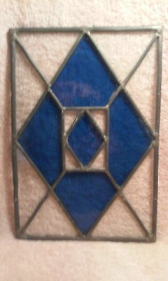 Stained Glass Window Blue and Clear Glass, NO Frame