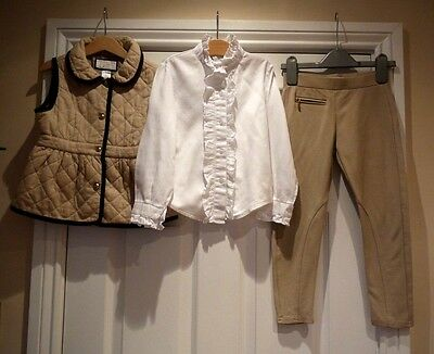 Stunning! GIRLS Designer OUTFIT SET Bundle... GILET JEGGINGS BLOUSE 6-7 Yrs