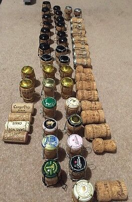 Used champagne and Sparkling Wine Corks, many with Cages For Crafts, FREE P&P