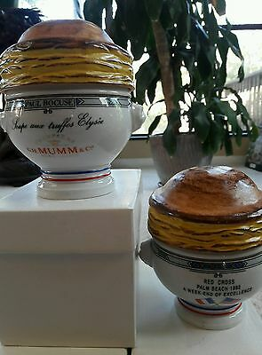 6 GH Mumm Champagne Palm Beach Red Cross French onion soup bowl crock Pillivuit