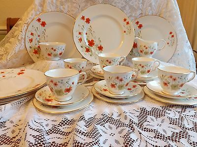 Beautiful Vintage Bone China Colclough Poppies 20 Piece Tea Set + 6 Dinner Plate