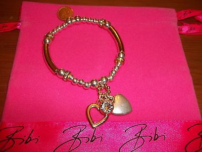 Bibi Bijoux Silver and Gold Tone Heart Charm Ball Bead Bracelet. New