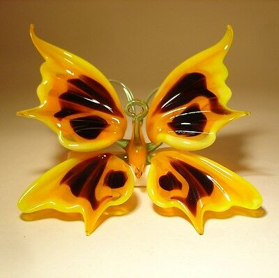 Blown Glass Art Figurine Hanging Yellow and Black BUTTERFLY Ornament