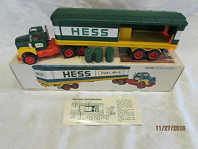 VINTAGE1975 HESS TRUCK  w/ BOX, DIRECTIONS & 3 Barrels Mint: New In Box
