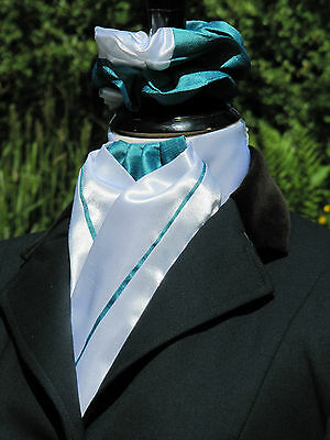 Ready Tied White and Teale Faux Silk Shiny Riding Stock & Scrunchie - Dressage