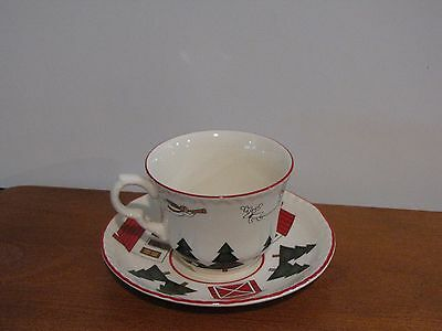 Mason's Christmas Village Tea Cup with Saucer Set Made in England Ribbed Edges