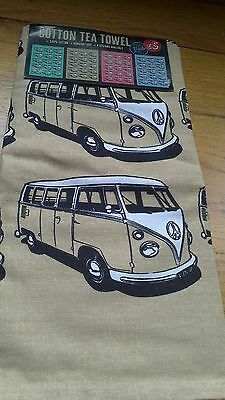 VW Campervan tea towel beige brand new with tags