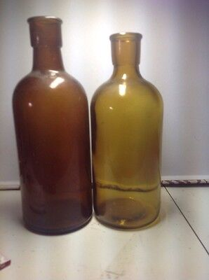 brown glass chemical bottlesx2