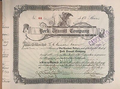 York Transit Company   1907 stock signed by John J Boland as president autograph