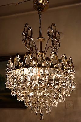 Antique Vintage Big French  Basket Style Crystal Chandelier Lamp 1960's.14 in.