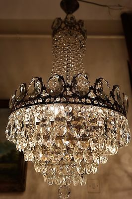 Antique Vintage  French  Basket Style Crystal Chandelier Lamp Light 1940's.17 in
