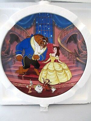 """Walt Disney's BEAUTY & THE BEAST KNOWLES PORCELAIN PLATE """"A Blossoming Romance"""""""