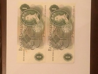 2 x £1 Bank of England notes
