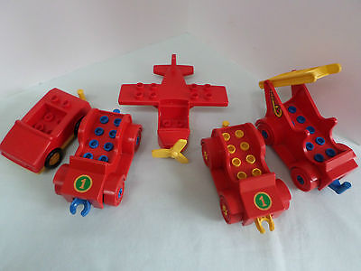 Five Red Lego Duplo Vehicles