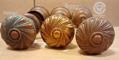 Antique Door knobs Copper Brass Spiral Brass Set Of Three