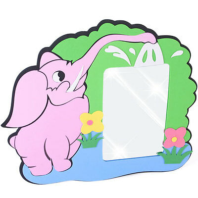 Craft Foam Childs Pink Elephant Design Mirror With An Adhesive Back ~ Brand New