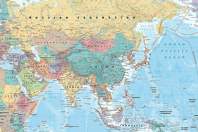 Map of Asia Middle East Maxi size 91.5x61cm Poster Education Aid New