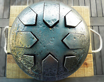 Steel Tongue Drum, temple drum handcrafted from reclaimed steel
