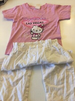 Next White Cotton Elasticated Trousers Age 4-5 Hello Kitty Pink T-shirt