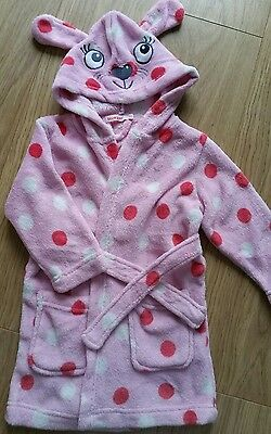 Bluezoo girls pink bunny hood dressing gown 18-24 mths (2 yrs)