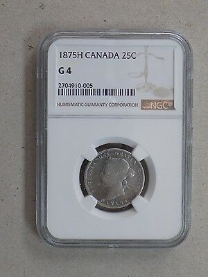 1875 H 25C Canada Silver Quarter Ngc G4 Key Date