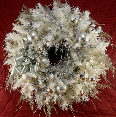 Christmas Wreath Hand Crafted Frosty Winter Night Holiday Floral Wreath