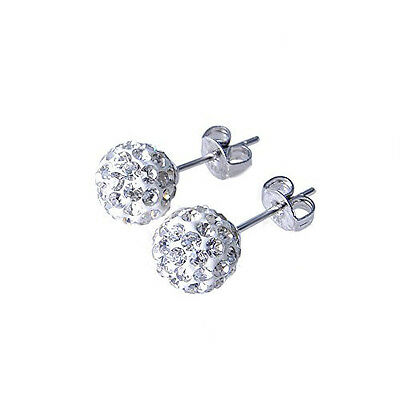 8mm 925 Sterling Silver Shamballa Crystal Ball Stud Earring