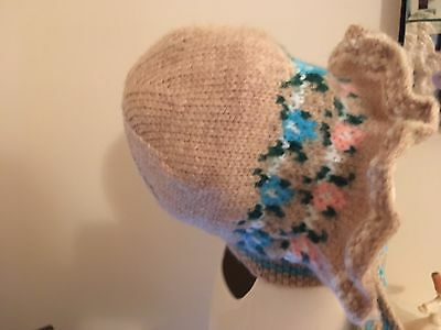 vintage 1950/s (?) Fair Isle wool hand knit Bonnet Girl