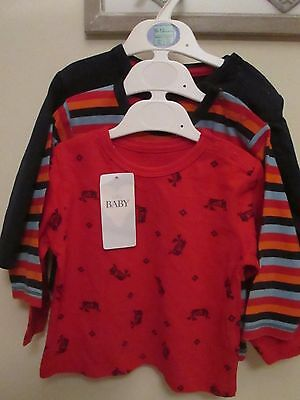 BNWT  Boys M&S Tops age 9 -12 months Pack 3