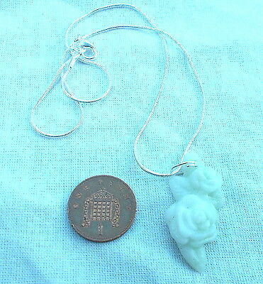New Pale Green Jade Flower Shaped Pendant 16 / 18 Inch 925 Silver Snake Chain
