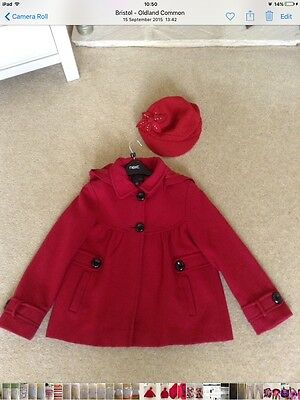 Girls  Next Red Wool Coat Age 9-10 & Next Red Wool Baker Style Cap Age 11-13