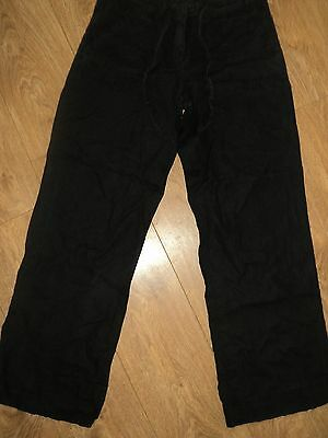 Atmosphere - Linen Trousers - Size 10- Black - Wide Leg