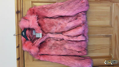 BNWT NEXT GIRLS or LADIES PINK & BLACK FUR COAT SIZE8-10 or age 15/16 Goth Emo