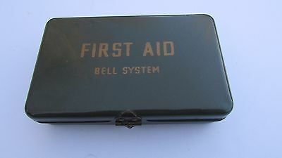Vintage BELL SYSTEM TELEPHONE  FIRST AID KIT Army Green Metal Box w/ some meds