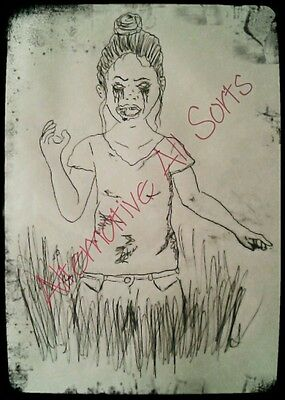 zombie art sketch print A5. Limited edition, hand signed and numbered by artist