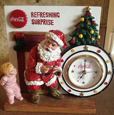 Christmas 1998 Coca-Cola Refreshing Surprise Santa Figurine Clock FREE SHIPPING!