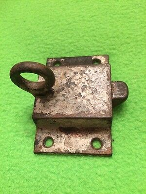 Vintage Antique Cast Brass Ring Finger Pull Window or Cabinet Door Latch