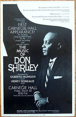 TRITON offers rare, original 1968 Carnegie Hall poster DON SHIRLEY pianist