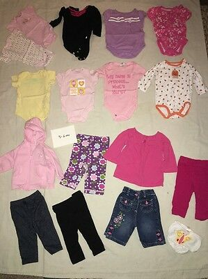 21 Pc. Lot of Baby Girl Size 3-6 Mo.(& 0-6) Onsies Shirt, Pants, Hats Lot#48