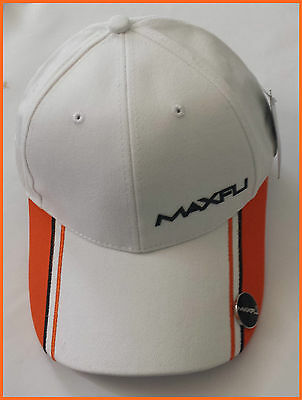 Maxfli Golf Cap With Magnetic Ball Marker - White/ Orange - Adjustable - New!