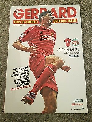 Steven gerrard last home game special issue programme Liverpool v Crystal Palace