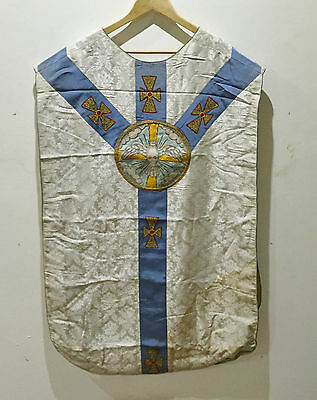 Ancienne Chasuble Liturgique Broderie Fil Or Colombe Eglise Religieux Casula TB